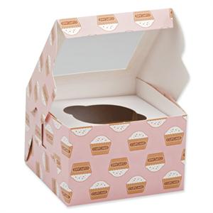 "Box Cupcake Single Count - 4.5x4.5x4.5"" w/Window"